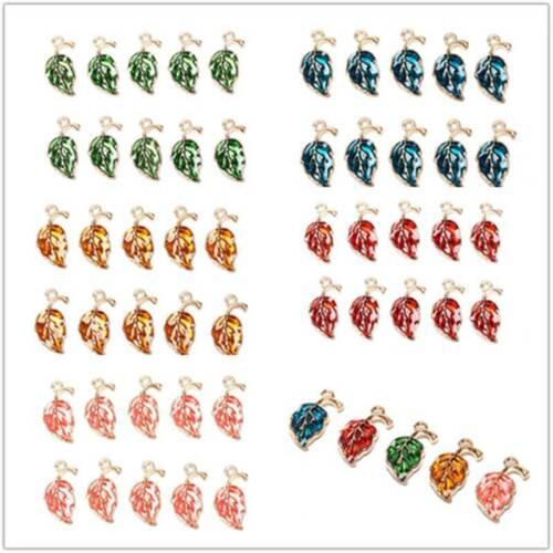 10Pcs DIY Jewelry Making Findings Enamel Alloy Leaf Leaves Charms Pendants Craft
