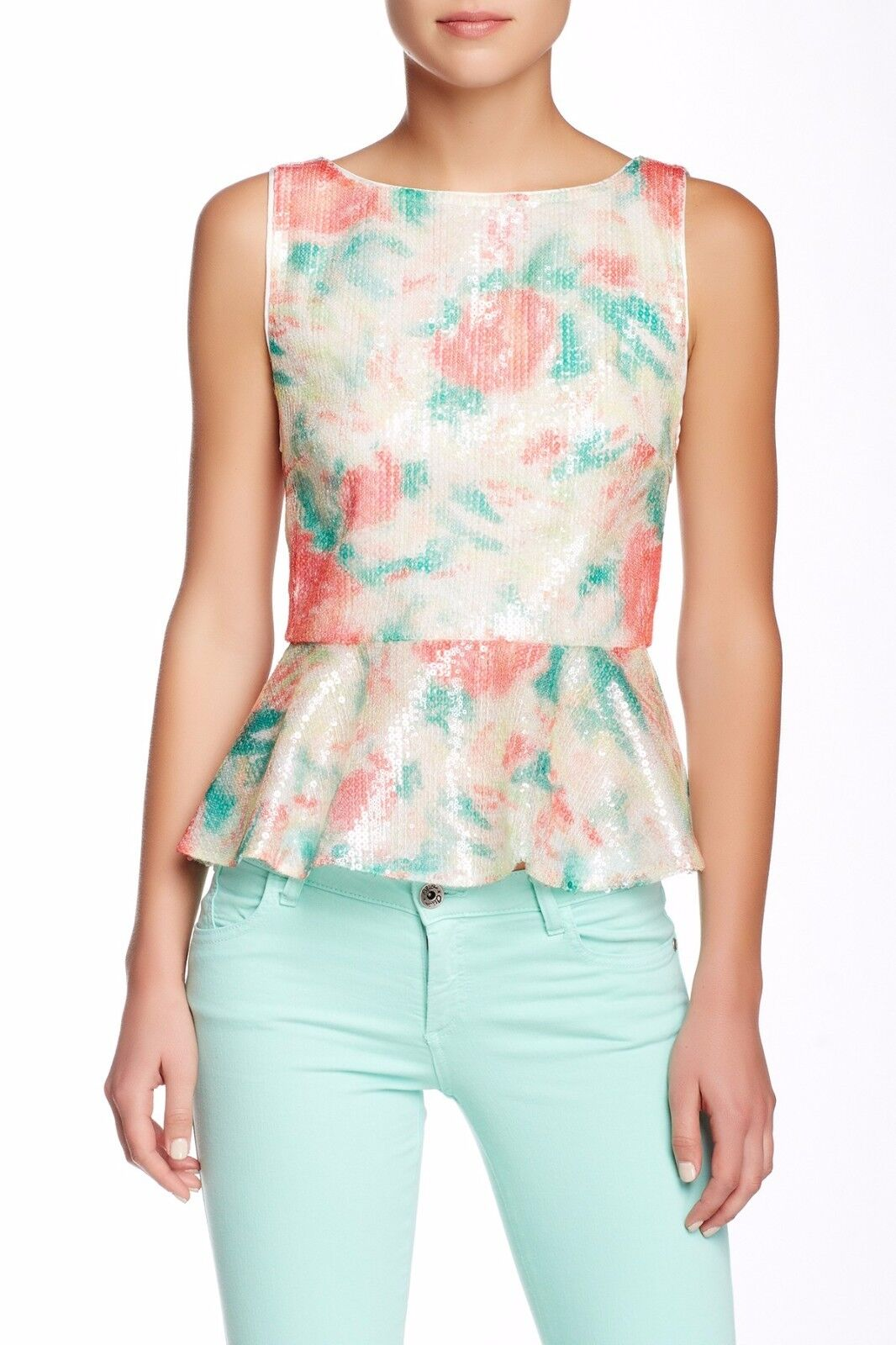 NWT  alice + olivia Rosie Embellished Silk Lined Peplum Tank [Small]