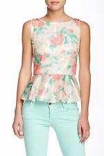 NWT $385 alice + olivia Rosie Embellished Silk Lined Peplum Tank [Small] #1029