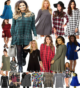 Nuove-donne-signore-TARTAN-CHECK-PRINT-Maniche-Lunghe-Swing-Svasato-Top-Dress-Plus-Size
