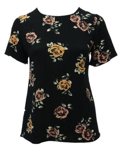 Nouvelle taille 14-24 noir à manches courtes T shirt top rose corail imprimé rose pour femme