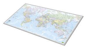 Mondo planisfero sottomano da scrivania in gomma flessibile [64x39