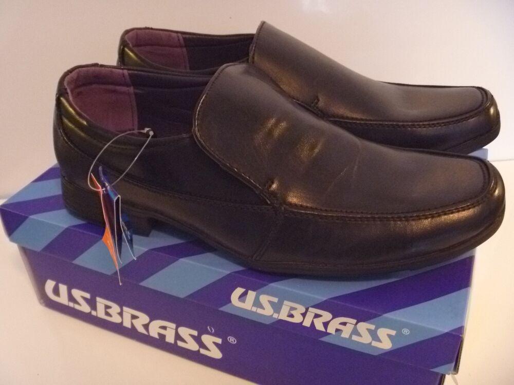 Us Brass Casper Chaussures Homme À Enfiler École Bureau Travail Mariage Garçons Noir Plat 6