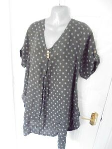 8b1bba44b4 Details about ❤ MADE IN ITALY Size 16 Grey Blue Spot Lagenlook 100% Linen  Long Tunic Top