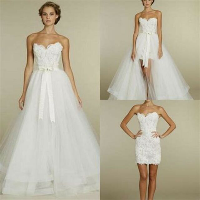 Short 2 In 1 Lace Tulle Wedding Dresses Bridal Gown Whiteivory
