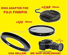 ADAPTER RING + UV FILTER+CAP 58mm TO CAMERA FUJI FINEPIX S9800 S9900W SL1000