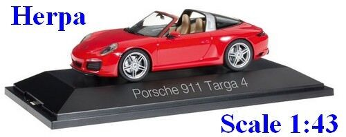HERPA Porsche 911 Targa 4S rouge Echelle 1//43