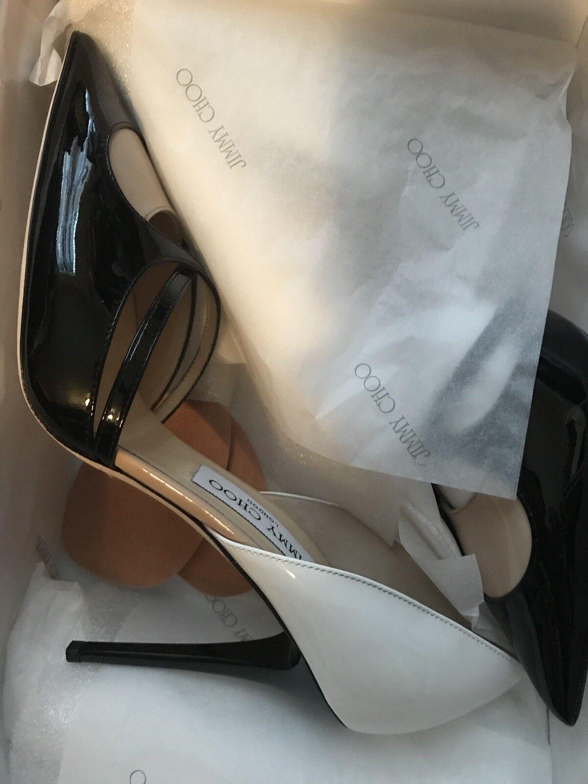 Jimmy Choo 133Amarita Patent size39 nude blk white