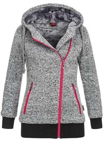 50/% OFF B17110170 Damen Violet Pullover Winter Zip Hoodie mit Kapuze grau