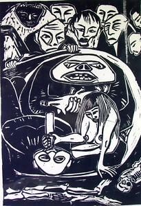 Morbid-Art-1940-KZ-Hunger-Opfer-Linolschnitt-sign-MAXIM-datiert