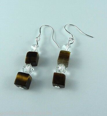 Natural Tiger Eye Crystal Dangle Earrings Silver Plated