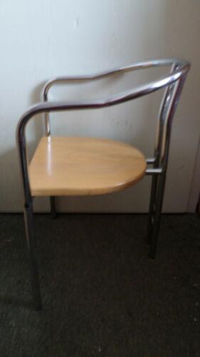 4 Bistrostühle,Gestell Metall,silberfarbig,Sitz Buchenholz
