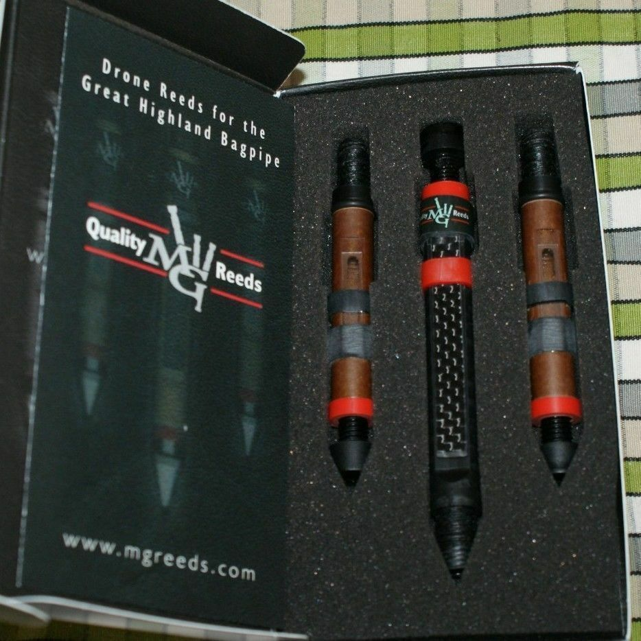 MG Drone Reeds pipes highland bagpipe 2 tenors 1 Carbon InGrüned bass