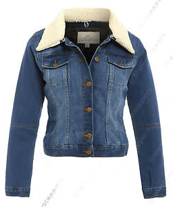 0e07737cef0b7 NEW Plus Size 18 20 22 24 DENIM JACKET Women s Borg Jean Jackets ...