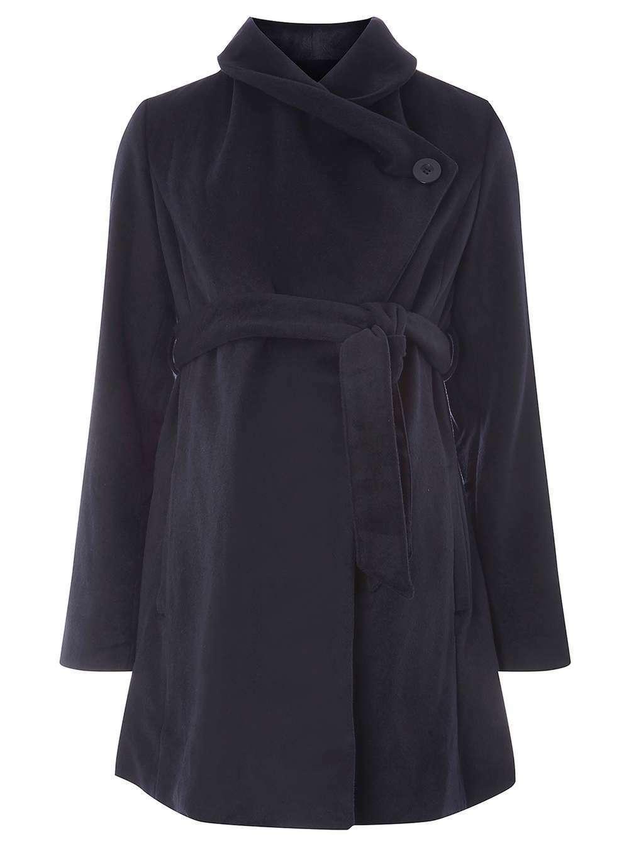 Mamalicious Maternity Navy Belted Wrap Coat bluee S