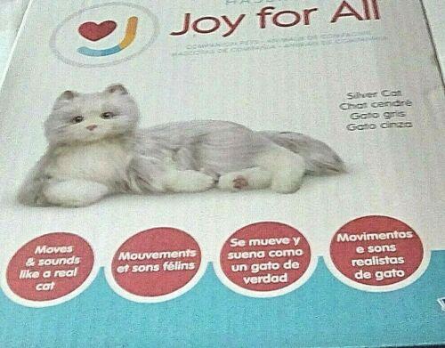 NEW Joy for All Companion Cat Silver Gray Fur White Paw Interactive Kitty Hasbro