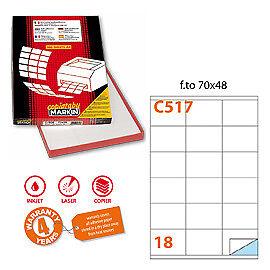18et//fg Markin 31128 Etichetta adesiva C//517 bianca 100fg A4 70x48mm