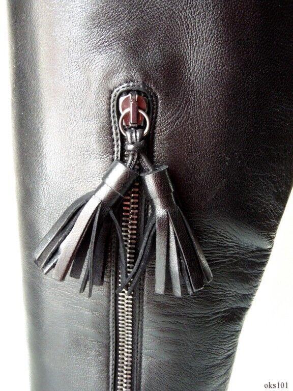 New STUART WEITZMAN WEITZMAN WEITZMAN black leather tassels small hidden wedge TALL BOOTS 6 1f9341