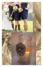 10 Navy White Pink Vintage Fabric Mason Jar Centerpiece Wedding Decorations M3