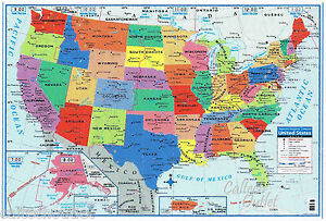 Large Map Of United States.Usa United States Map Poster Size Wall Decoration Large Map Of The