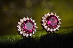 New-18k-Rose-Gold-GP-Austria-Crystal-flower-Earrings-ruby-Studs-wedding-earring