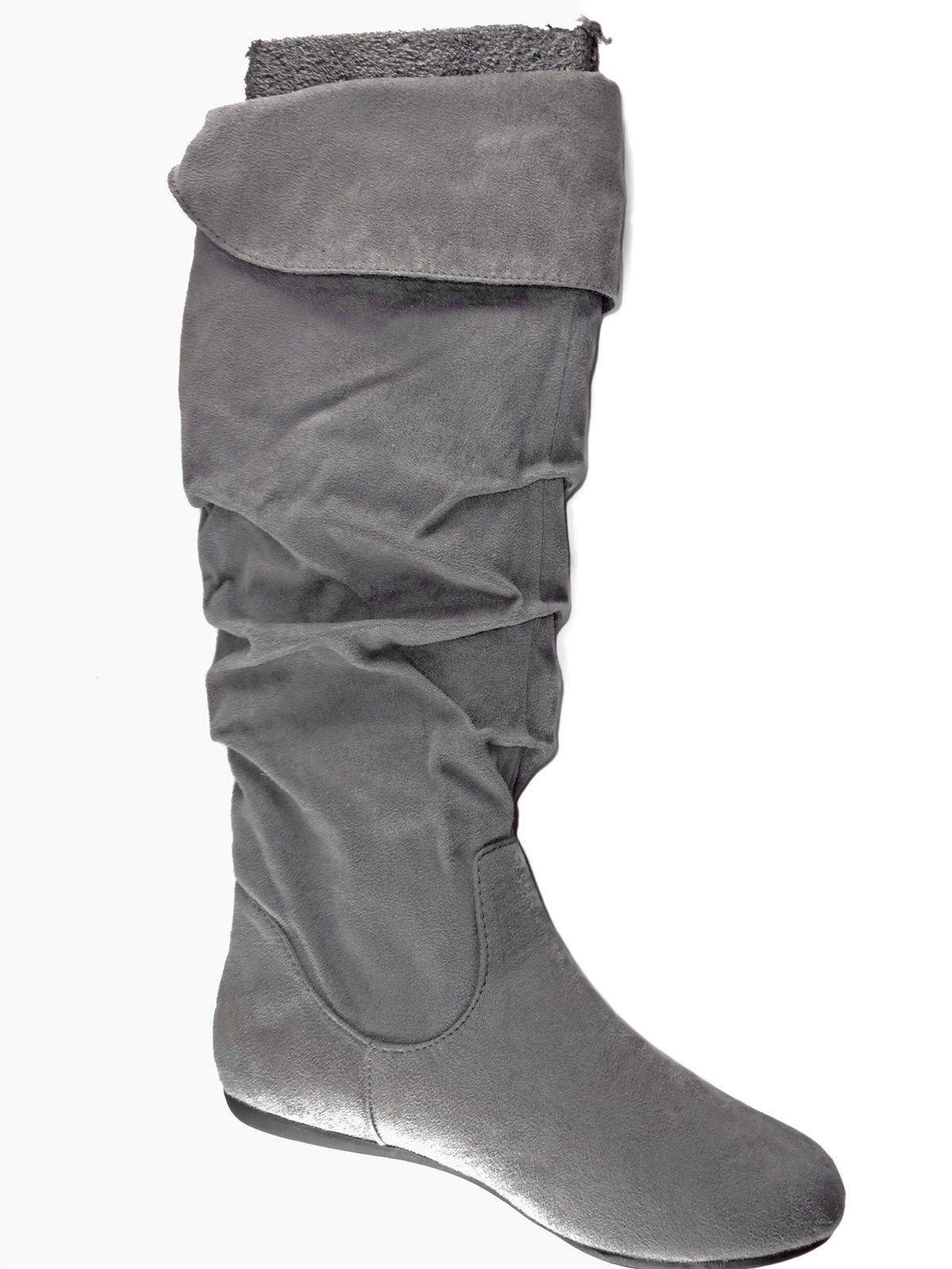 Sito ufficiale Rampage Donna  Bridge Fashion Flat Knee-High Knee-High Knee-High stivali grigio Faux Suede Sz 6 M  marca