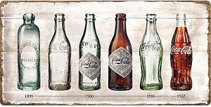 Coca-Cola-Flasche-Evolution-Grosse-Gepraegtes-Metall-Zeichen-500mm-x-250mm-Na