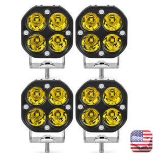 4X-40W-3in-LED-Work-Light-Bar-Spot-Pods-Yellow-Offroad-Fog-Lamp-4WD-ATV-Truck-US