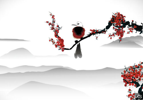 Fototapete Vogel auf dem Kirschbaum Tapete Fototapeten Fürs Wohnzimmer FDB184