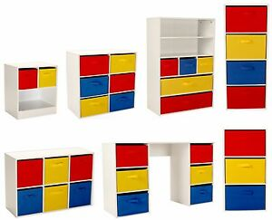 toy storage unit kids desk chest bookcase box canvas drawers children furniture ebay. Black Bedroom Furniture Sets. Home Design Ideas