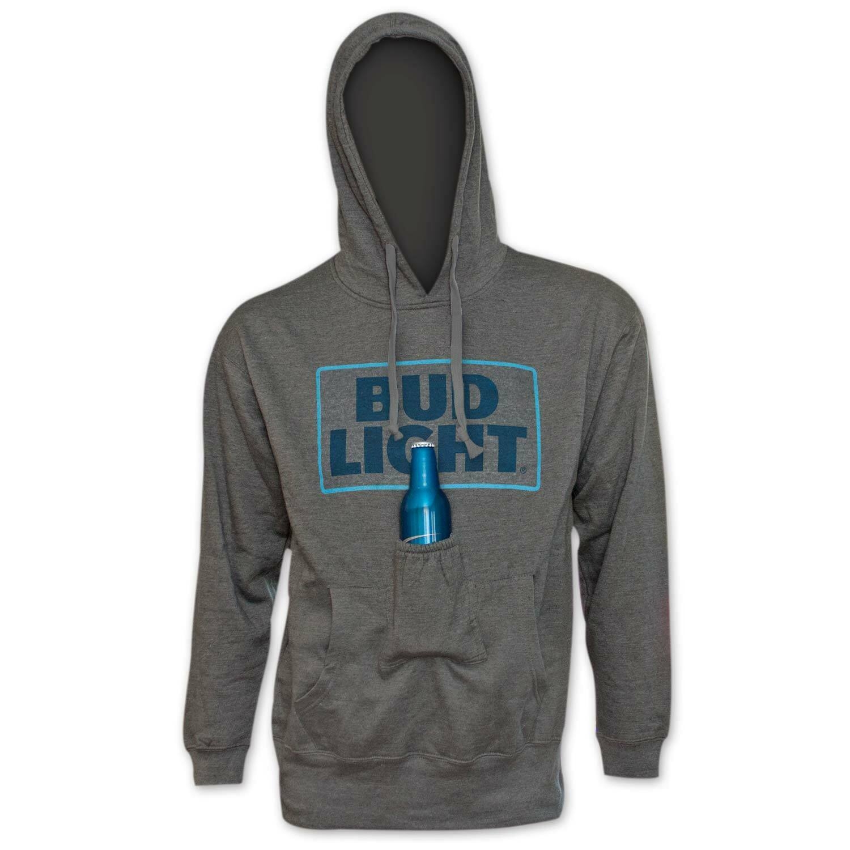 Bud Light Logo Beer Pouch Hoodie Grey