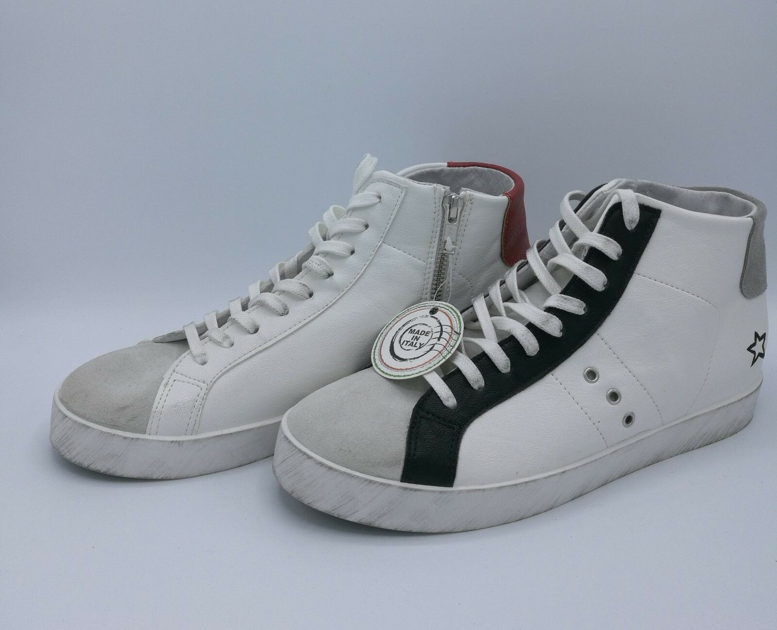 In my shoes in my 28 sneakers alte in pelle bianco red e bianco grey black