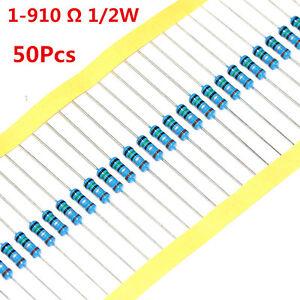 50Pcs-1-2W-0-5W-Metal-Film-Resistor-1-620-680-750-820-1-910-Ohm