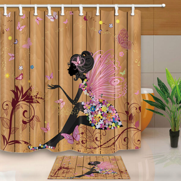 Butterfly Elf Shower Curtain Bedroom Decor Waterproof Fabric 12Hooks 7171inch