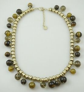 Talbots-Brown-Beaded-Gold-Tone-Necklace-Vintage