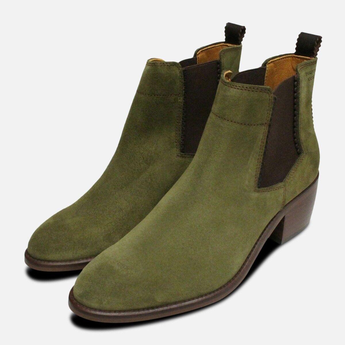 Blockabsatz Chelsea Stiefel in Moosgrün Wildleder