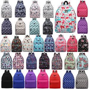 BOYS-GIRLS-RETRO-BACKPACK-SCHOOL-COLLAGE-TRAVEL-RUCKSACK-BAG