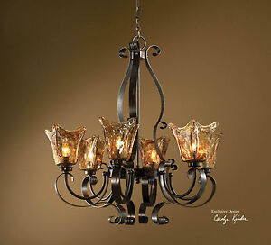 Large 31 Quot Iron Amp Glass Hanging Chandelier Ceiling