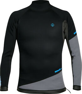 Black/Grey-Noo<wbr/>kie Ti Vest Long Sleeve-1mm Neo Top-Kayak/Surf<wbr/>/SUP/Wetsuit Jacket