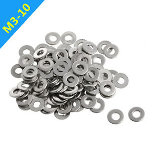 US 100Pcs M3-M10 Stainless Steel Metric Flat Washers for Bolts Screws Fastened