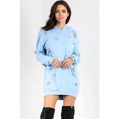 Womens Ladies Hooded Sweatshirt Destroyed Ripped Oversized Longline Tunic Dress