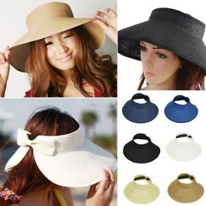 Stylish-Women-Summer-Sun-Beach-Foldable-Roll-Up-Wide-Brim-Straw-Visor-Hat-Cap-WM