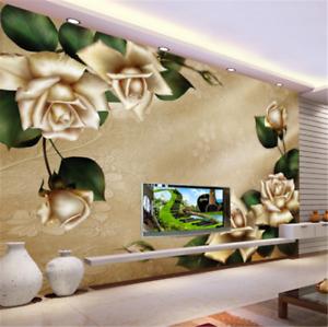 3D golden Flower Leaves 837 Wallpaper Mural Paper Wall Print Wallpaper Murals UK