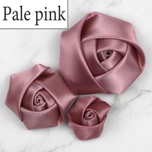 DIY Big, medium,and small, Satin Ribbon Rose Flower Appliques Wedding Decoration