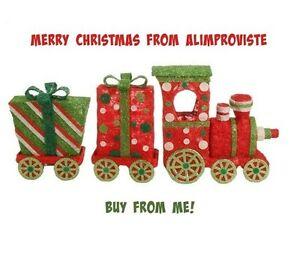 image is loading lighted large sisal christmas train set of 3 - Lighted Train Christmas Decoration