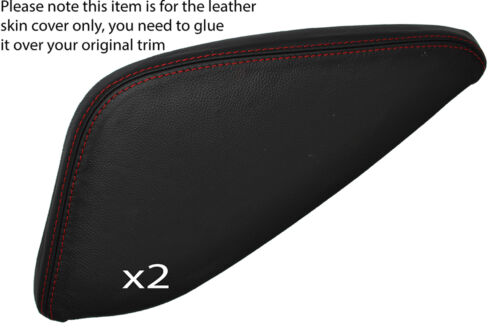 RED STITCH 2X CENTER CONSOLE TRIANGLE SKIN COVERS FITS NISSAN QASHQAI 13-16