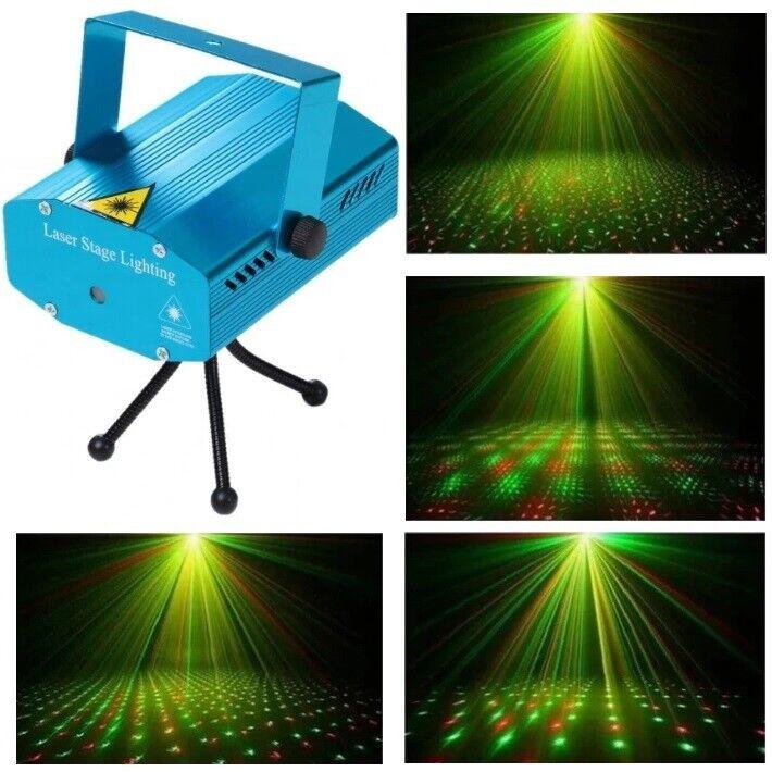 NY! Laser diskolys med lydsensor og 2 farver Grøn laser / Rød