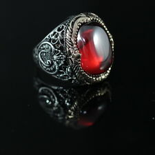 BEAUTIFUL! TURKISH HANDMADE RUBY STERLING SILVER 925K MEN'S RING SIZE 13
