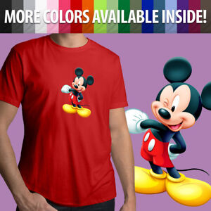 Walt-Disney-Mascot-Mickey-Mouse-Wink-Cute-Cartoon-Unisex-Mens-Tee-Crew-T-Shirt