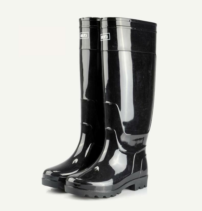 Mens Outdoor Waterproof Rainboots Pull On Rubber Fishing Shoes Knee High Boots